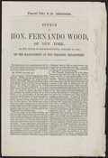 Books:Americana & American History, [Andrew Johnson]. Speech of Hon. Fernando Wood, of New York, inthe House of Representatives, January 19, 1870; on the M...