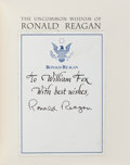 Books:Americana & American History, [Ronald Reagan]. Bill Adler, editor. The Uncommon Wisdom ofRonald Reagan. A Portrait in His Own Words. Boston, ...