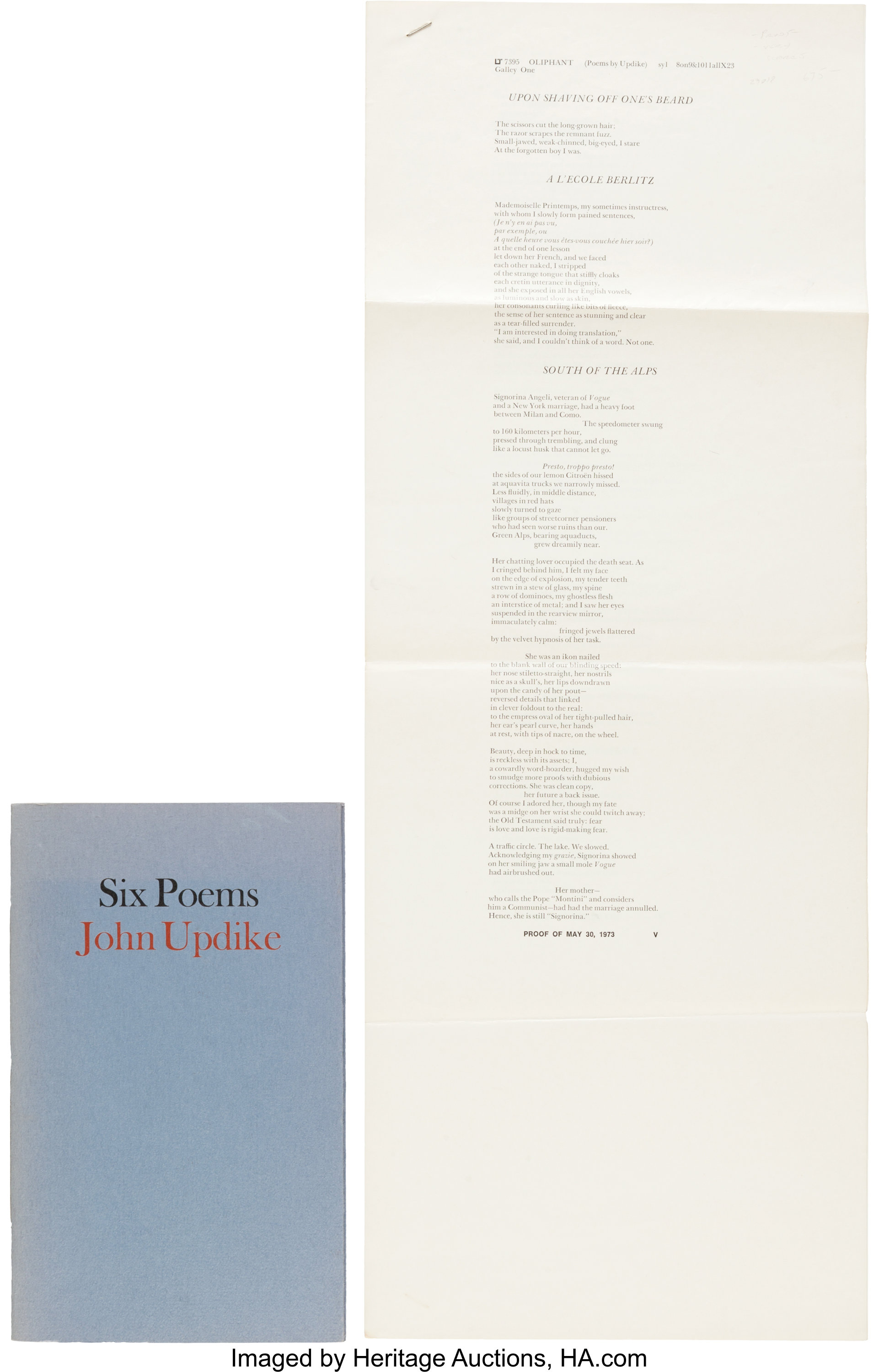 John Updike  Six Poems and Original Galley Proofs  [New York]:   Lot