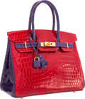 Luxury Accessories:Bags, Hermes Special Order Horseshoe 30cm Shiny Braise & Ultra VioletNilo Crocodile Birkin Bag with Gold Hardware. ...
