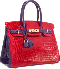 Hermes Special Order Horseshoe 30cm Shiny Braise & Ultra Violet Nilo Crocodile Birkin Bag with Gold Hardware