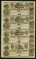 Obsoletes By State:Ohio, Franklin, OH- The Franklin Silk Company $1-$1-$2-$3 18__ Wolka1124-06 Uncut Remainder Sheet. ...