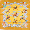 """Luxury Accessories:Accessories, Hermes 90cm Limited Edition Gold & Blue """"Heavenly Horses,"""" byDimitri Rybaltchenko Silk Scarf. ..."""