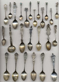 Silver Souvenir Spoons:Native American, A GROUP OF TWENTY-FIVE SILVER NATIVE AMERICAN SOUVENIR SPOONS,Various makers, circa 1900. Marks: (various maker's marks), ...(Total: 25 Items)