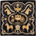 "Luxury Accessories:Accessories, Hermes 90cm Black, Gold & Beige ""Paperoles,"" by ClaudiaStuhlhofer Mayr Silk Scarf. ..."