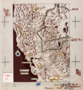 Books:Maps & Atlases, [Maps, Magazine Proofs]. Original Drawn Map of the Region of the Gold Rush. Overlapping cels depict topographical changes, p...