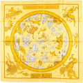 "Luxury Accessories:Accessories, Hermes 90cm Yellow, Gold & Red ""Hemisphaerium Coeli Boreale,""by Hugo Grygkar Silk Scarf. ..."