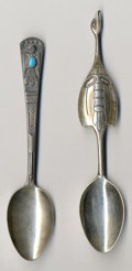 Silver Souvenir Spoons:Native American, TWO SILVER AND TURQUOISE NATIVE AMERICAN SOUVENIR SPOONS, Makerunidentified, circa 1900. Marks: C (within totem pole), ...(Total: 2 Items)