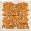 "Luxury Accessories:Accessories, Hermes 90cm Beige, Orange & Yellow ""Legende Moghole,"" by KarenPetrossian Silk Scarf. ..."