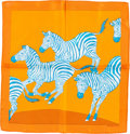 "Luxury Accessories:Accessories, Hermes 40cm Orange, Teal & White ""Les Zebres,"" by Robert DalletSilk Pochette Scarf. ..."
