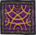 "Luxury Accessories:Accessories, Hermes 70cm Black, Purple & Yellow ""Maillons,"" by Caty Latham Silk Scarf. ..."