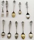 Silver Souvenir Spoons:Native American, A GROUP OF TEN SILVER NATIVE AMERICAN SOUVENIR FORKS AND SPOONS,Various makers, circa 1900. Marks: (various maker's marks),...(Total: 10 Items)