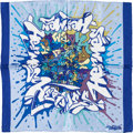 "Luxury Accessories:Accessories, Hermes 40cm Light Blue, Dark Blue & White ""Graffiti,"" by KongSilk Pochette Scarf. ..."