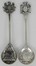 Silver Souvenir Spoons:Round Bowl, TWO AMERICAN SILVER SOUVENIR SPOONS, Gorham Manufacturing Co.,Providence, Rhode Island, circa 1900. Marks: (lion-anchor-G),...(Total: 2 Items)