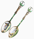 Silver Souvenir Spoons:Enameled, A PAIR OF AMERICAN SILVER AND ENAMEL HOT SPRINGS, VIRGINIA SOUVENIRSPOONS, Maker unknown, circa 1900. Marks: STERLING. ...(Total: 2 Items)