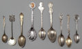 Silver Souvenir Spoons:Other , A GROUP OF FIFTEEN AMERICAN SILVER, GILT AND ENAMEL SOUVENIRSPOONS, Various makers, circa 1900. Marks: (various maker's mar...(Total: 15 Items)