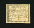 Colonial Notes:Rhode Island, Rhode Island July 2, 1780 $4 New. A near gem note which is crispand well signed with a tape repair strip on the back....