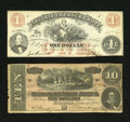 Confederate Notes:1864 Issues, Confederate and Southern State Pair.. T68 $10 1864.. Edge splits and notches are noticed with the longest split being ap... (Total: 2 notes)
