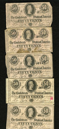 Confederate Notes:1864 Issues, T72 50 Cents 1864 Five Examples. The grades range from Very Good, with a stain and up.. ... (Total: 5 notes)