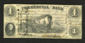 Obsoletes By State:Indiana, Terre Haute, IN- Commercial Bank $1 Aug. 3, 1858. This is a great example of the work of master engraver W.L.Ormsby. This ex...