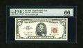 Small Size:Legal Tender Notes, Fr. 1536* $5 1963 Legal Tender Star Note. PMG Gem Uncirculated 66.. Embossing is a trait of this $5 Star....