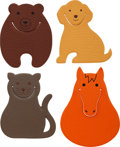 Luxury Accessories:Home, Hermes Set of Four; Orange H Horse, Noisette Bear, Etoupe Cat &Natural Dog Chevre Leather Pikabook Bookmarks. ... (Total: 4 Items)