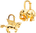 Luxury Accessories:Accessories, Hermes Limited Edition Set of Two; Gold Horse & Elephant CadenaCharm Locks. ... (Total: 2 Items)