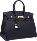 Luxury Accessories:Bags, Hermes 35cm Indigo Togo Leather Birkin Bag with Gold Hardware. ...