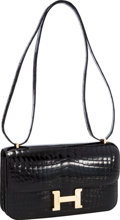 Luxury Accessories:Bags, Hermes Shiny Black Nilo Crocodile Constance Elan Bag with GoldHardware. ...