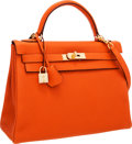Luxury Accessories:Bags, Hermes 32cm Potiron Togo Leather Retourne Kelly Bag with GoldHardware. ...