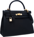 Luxury Accessories:Bags, Hermes 32cm Black Togo Leather Retourne Kelly Bag with GoldHardware. ...