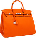 Luxury Accessories:Bags, Hermes 40cm Orange H Togo Leather Birkin Bag with PalladiumHardware. ...