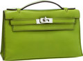 Luxury Accessories:Bags, Hermes Vert Anis Swift Leather Kelly Pochette Clutch Bag with Palladium Hardware. ...