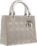 Luxury Accessories:Bags, Christian Dior Silver Cannage Satin Lady Dior Bag . ...