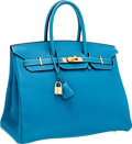 Luxury Accessories:Bags, Hermes 35cm Blue Jean Togo Leather Birkin Bag with Gold Hardware....