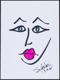 Movie/TV Memorabilia:Original Art, Sela Ward. Doodle for Hunger. Marker on Paper. 9 x 12Inches. Estimate: $100-$300. Condition: Fine. ...