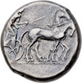 Ancients:Greek, Ancients: SICILY. Catana. Ca. 450-445 BC. AR tetradrachm (25mm,17.18 gm, 3h). ...