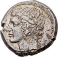 Ancients: SICILY. Leontini. Ca. 430-425 BC. AR tetradrachm (25mm, 17.23 gm, 10h).