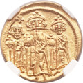 Ancients:Byzantine, Ancients: Heraclius, with Heraclius Constantine and Heraclonas (AD610-641). AV solidus (19mm, 4.47 gm, 6h)....