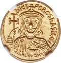 Ancients:Byzantine, Ancients: Nicephorus I, with Stauracius (AD 802-811). AV solidus(19mm, 4.41 gm, 5h)....