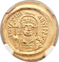 Ancients:Byzantine, Ancients: Justinian I (AD 527-565). AV solidus (19mm, 4.46 gm,7h)....