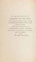 Books:Fiction, Willa Cather. Shadows on the Rock. Knopf, 1931. Signedlimited edition. From a private collection in North...