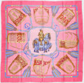 "Luxury Accessories:Accessories, Hermes Pink & Yellow ""Les Muserolles,"" by Christiane VauzellesSilk Scarf. ..."