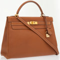 Luxury Accessories:Bags, Hermes 32cm Gold Courchevel Leather Retourne Kelly Bag with GoldHardware. ...