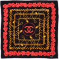 Luxury Accessories:Accessories, Chanel Black & Pink Silk Scarf with CC Chain Motif. ...