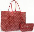 Luxury Accessories:Bags, Goyard Red Monogram Chevron Canvas Saint Louis PM Tote Bag. ...