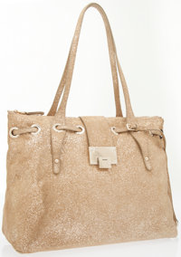 Jimmy Choo Gold Suede Rhea Tote Bag