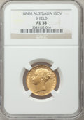 "Australia, Australia: Victoria gold ""Shield"" Sovereign 1884-M AU58 NGC,..."