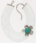 Luxury Accessories:Accessories, Stephen Dweck Sterling Silver Statement Necklace with Turquoise& Rock Crystal Detail. ...