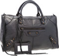 Luxury Accessories:Bags, Balenciaga Antiqued Black Leather Large Work Motorcycle Bag. ...